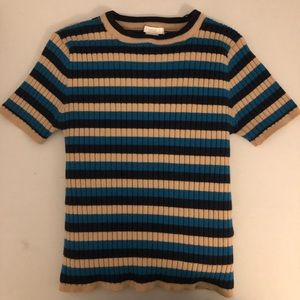 FOREVER21 Ribbed Striped Crop Top